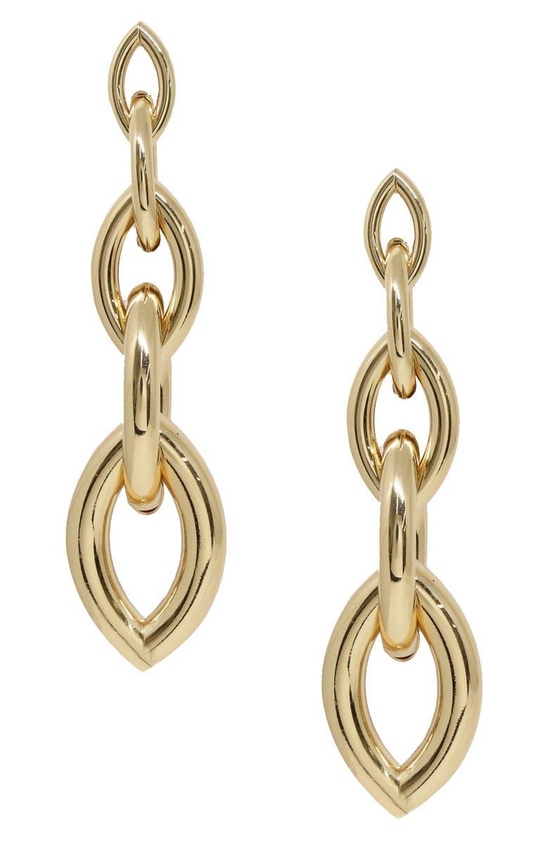 ETTIKA Gradual Chain Link Drop Earrings, Main, color, GOLD