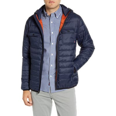 Faherty Atmosphere Quilted Water Resistant Hooded Jacket, Blue