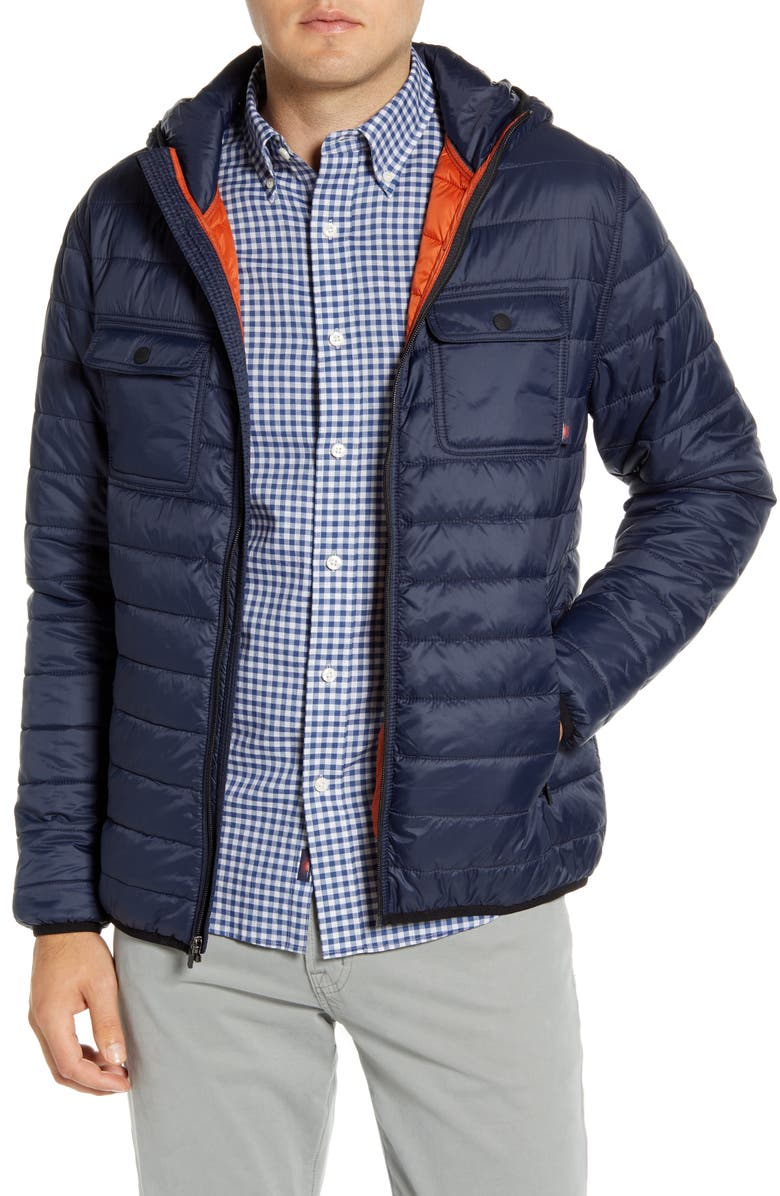 FAHERTY Atmosphere Quilted Water Resistant Hooded Jacket, Main, color, NAVY
