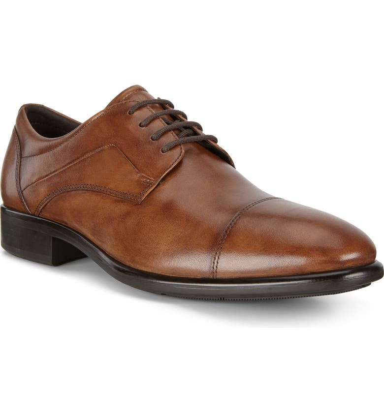 ECCO City Tray Cap Toe Derby, Main, color, AMBER