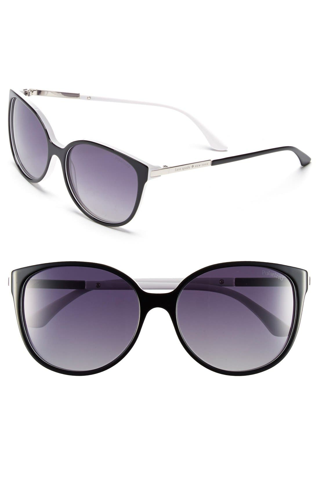 'shawna' 56mm polarized sunglasses, Main, color, 001