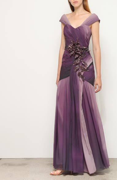 Ombré Embellished Chiffon Gown, video thumbnail