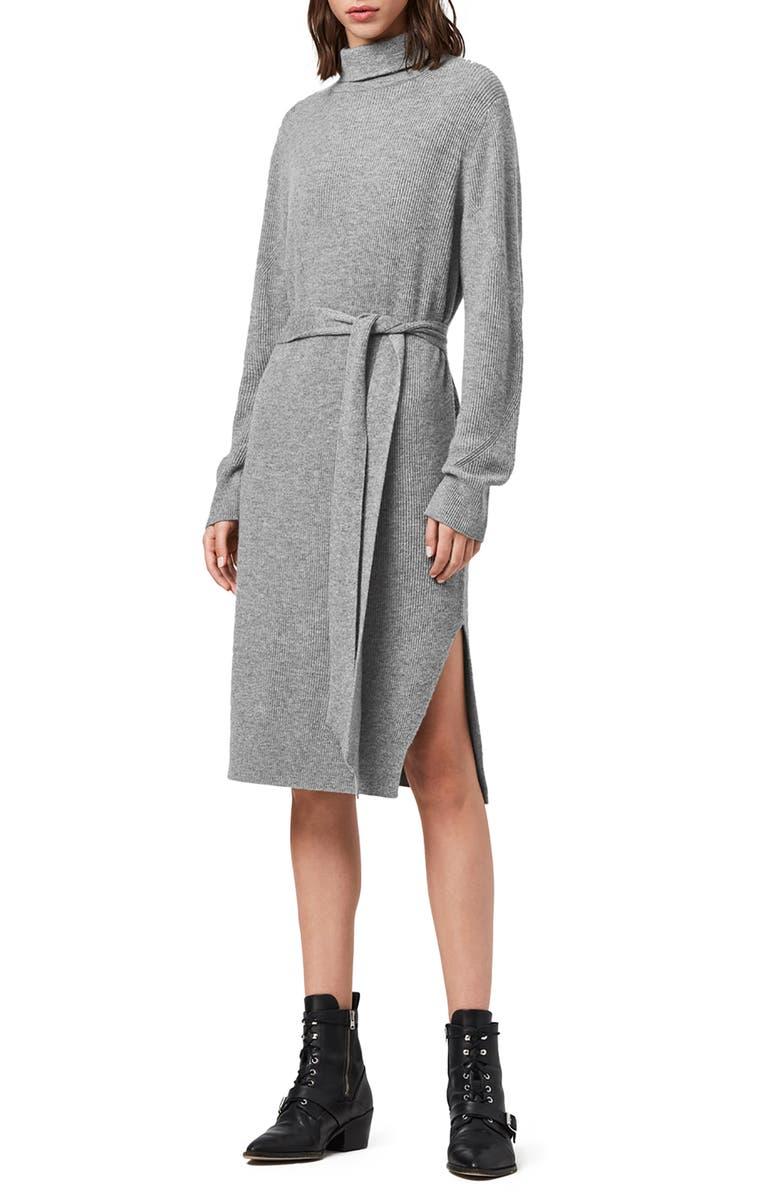 ALLSAINTS Roza Long Sleeve Turtleneck Sweater Dress, Main, color, PALE GREY