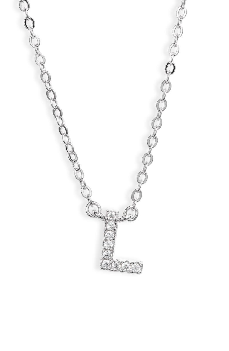NORDSTROM Delicate Cubic Zirconia Initial Pendant Necklace, Main, color, L- CLEAR- SILVER