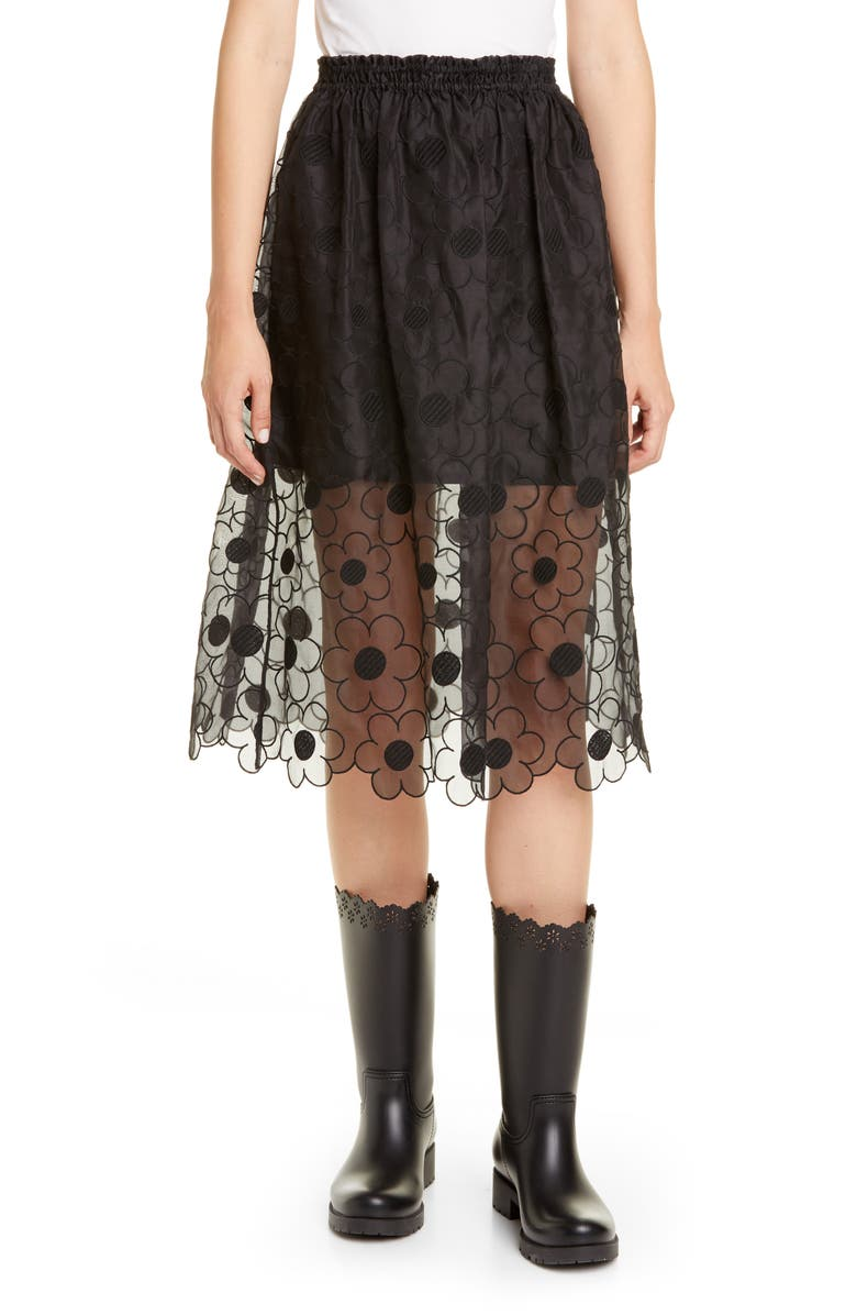 MONCLER GENIUS x 4 Simone Rocha Floral Embroidered Silk Midi Skirt, Main, color, 001