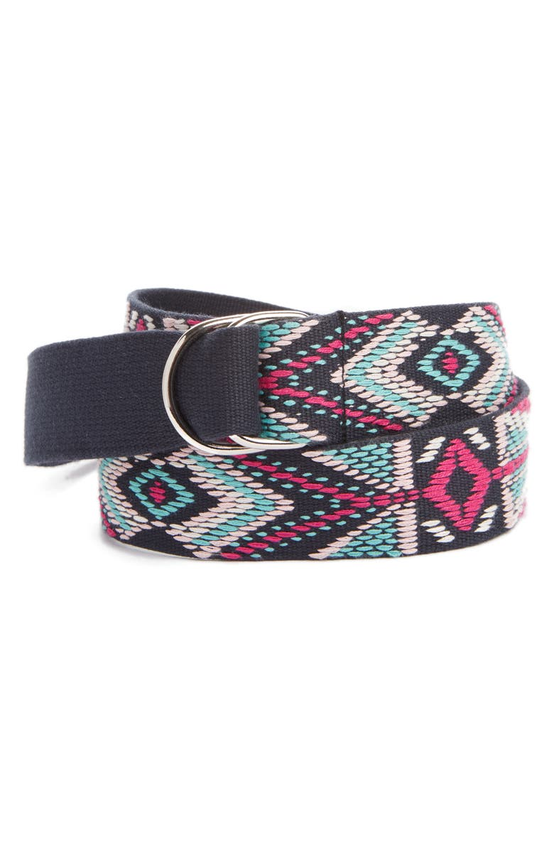 ISABEL MARANT Nyess Geo Embroidered Woven Belt, Main, color, FADED NIGHT