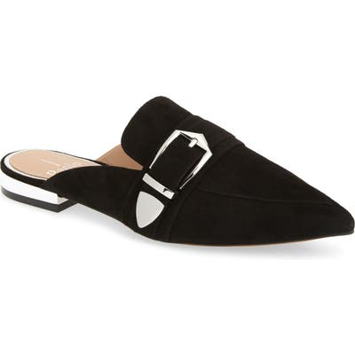 Linea Paolo Ace Buckle Pointed Toe Mule, Black