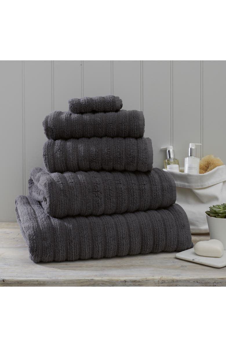 THE WHITE COMPANY Ribbed Jumbo Super Hydrocotton Towel, Main, color, SLATE