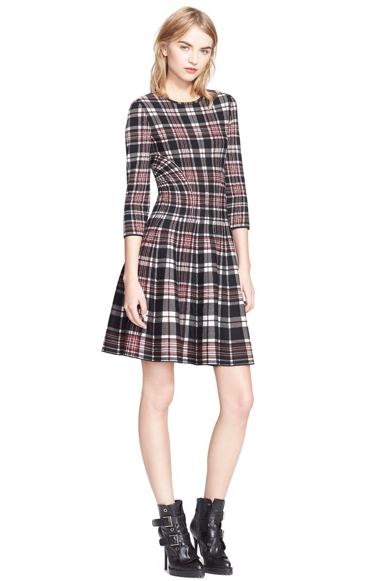 ALEXANDER MCQUEEN Full Circle Skirt Plaid Dress, Main, color, 601