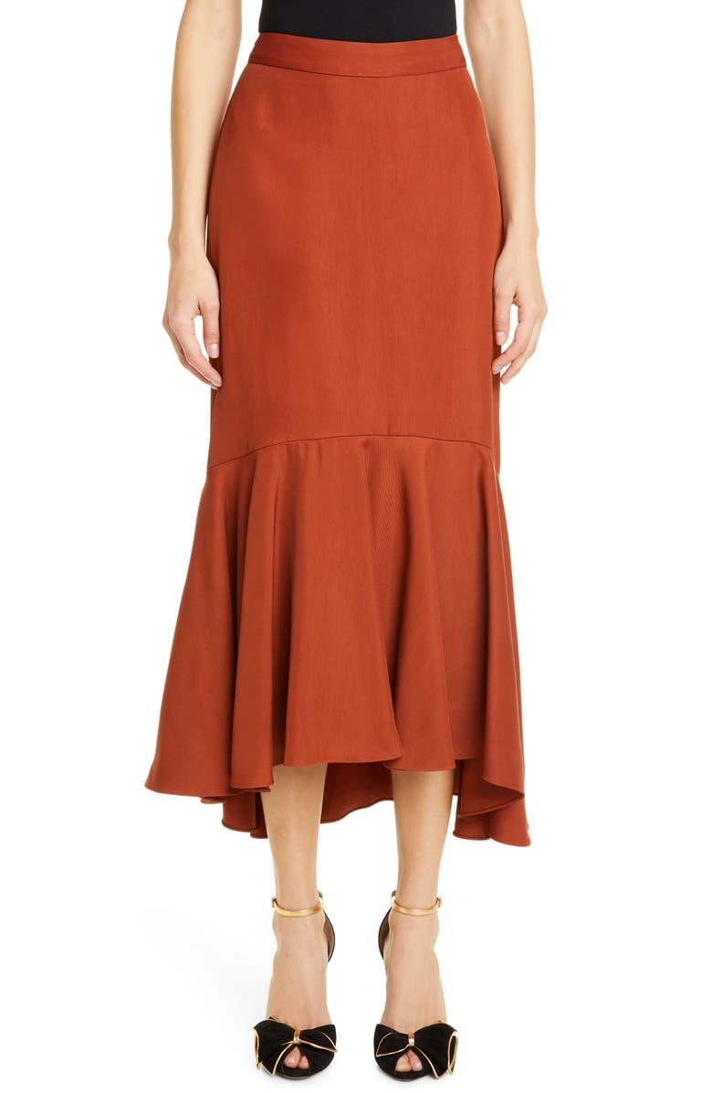 JOHANNA ORTIZ Ruffle Hem Drill Midi Skirt, Main, color, REDWOOD