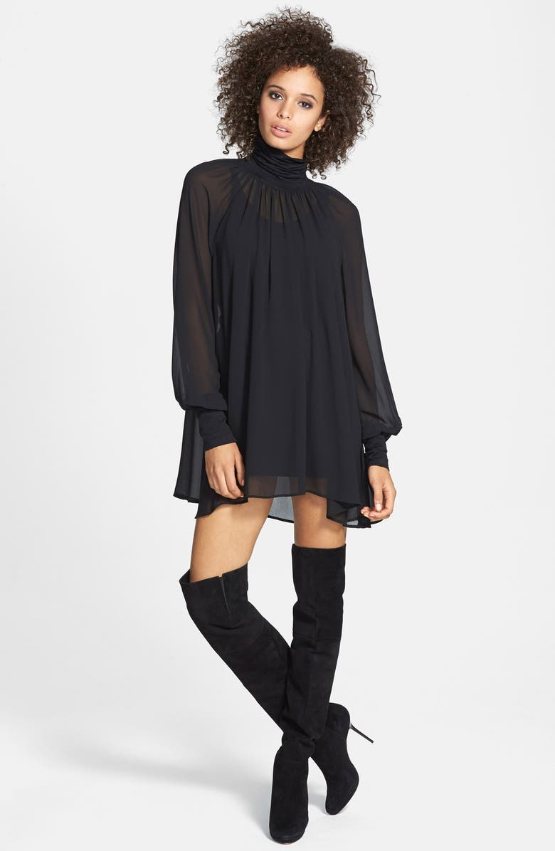 JUNE & HUDSON Sheer Turtleneck Tunic Dress, Main, color, 005