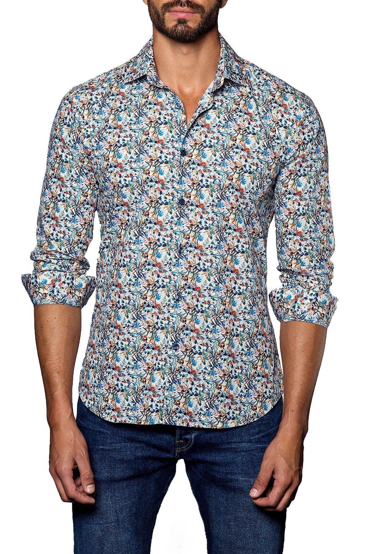 Image of Jared Lang Printed Trim Fit Long Sleeve Shirt