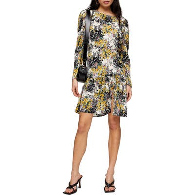 Petite Topshop Floral Print Long Sleeve Minidress, P US - Black