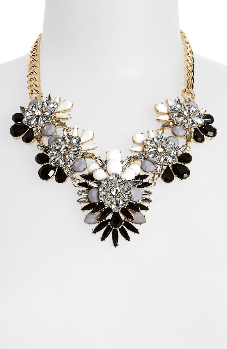 CARA Stone & Crystal Bib Necklace, Main, color, 001