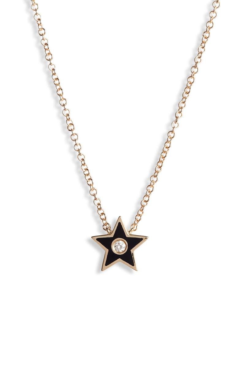 EF COLLECTION Diamond Star Pendant Necklace, Main, color, YELLOW GOLD/ BLACK/ DIAMOND