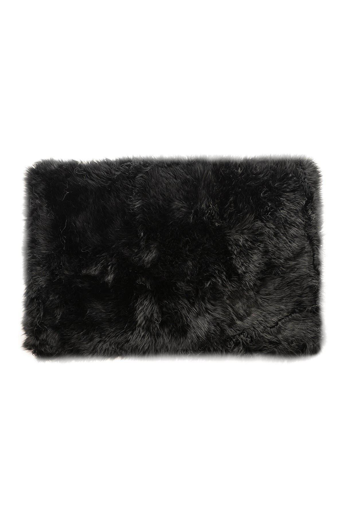 Image of Natural New Zealand Rectangular Sheepskin Throw - 2ft X 3ft - Black