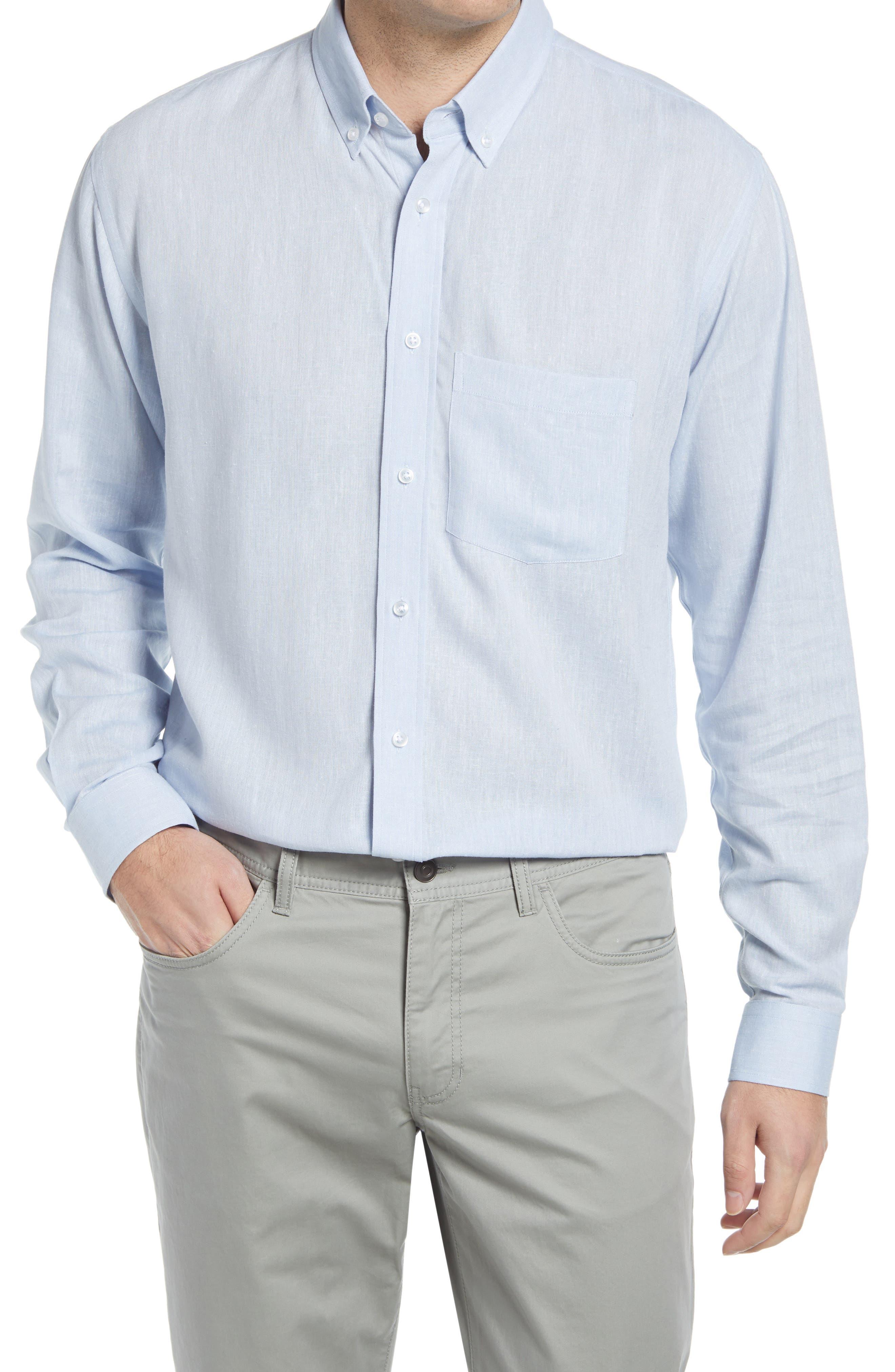 Howard Tailored Fit Cotton & Linen Button-Down Shirt