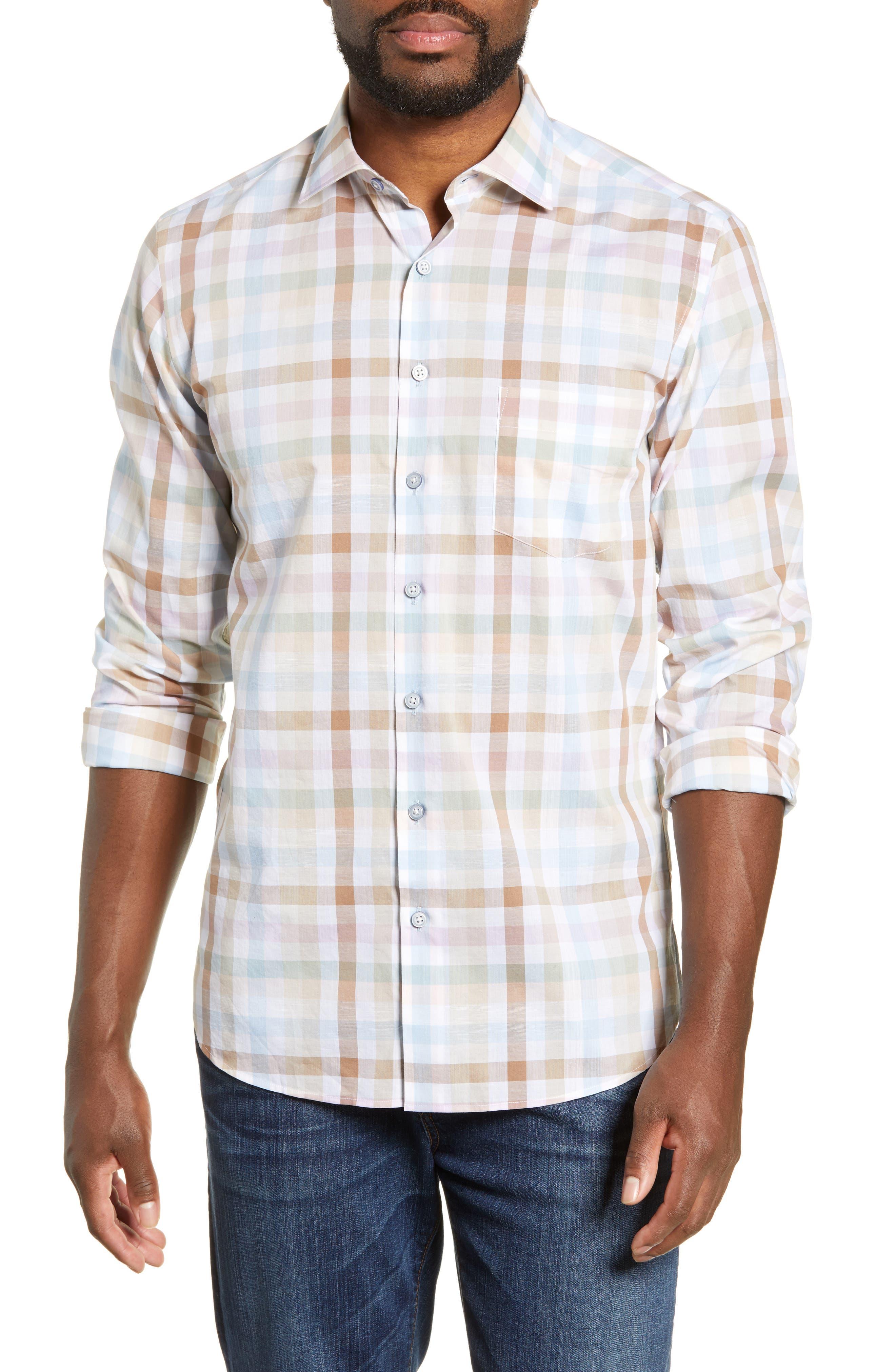 Collingwood Regular Fit Check Cotton Sport Shirt, Main, color, WALNUT