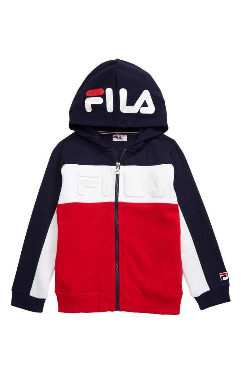 FILA Embossed Logo Zip Hoodie, Main, color, 410