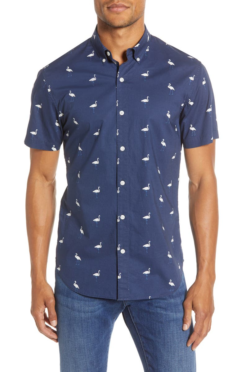 BONOBOS Slim Fit Flamingo Print Button-Up Shirt, Main, color, 400