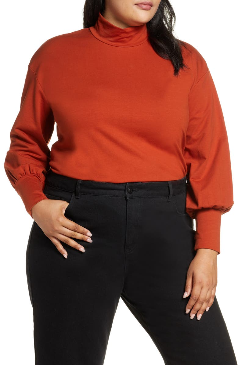 ELOQUII R29 x ELOQUII Mock Neck Cotton Knit Top, Main, color, RUSTED AMBER