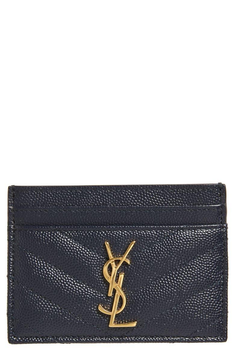 SAINT LAURENT Monogram Quilted Leather Credit Card Case, Main, color, SAPPHIRE