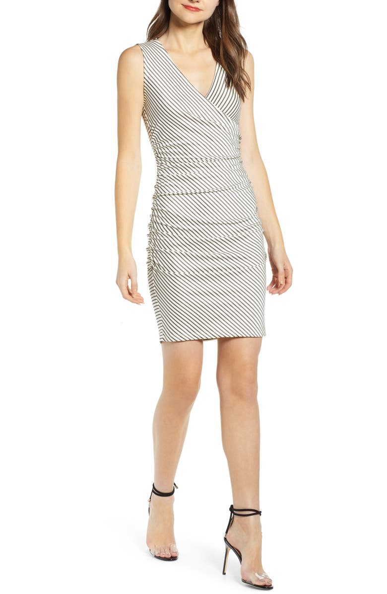LEITH Sleeveless Ruched Wrap Dress, Main, color, IVORY BLACK AVA STRIPE