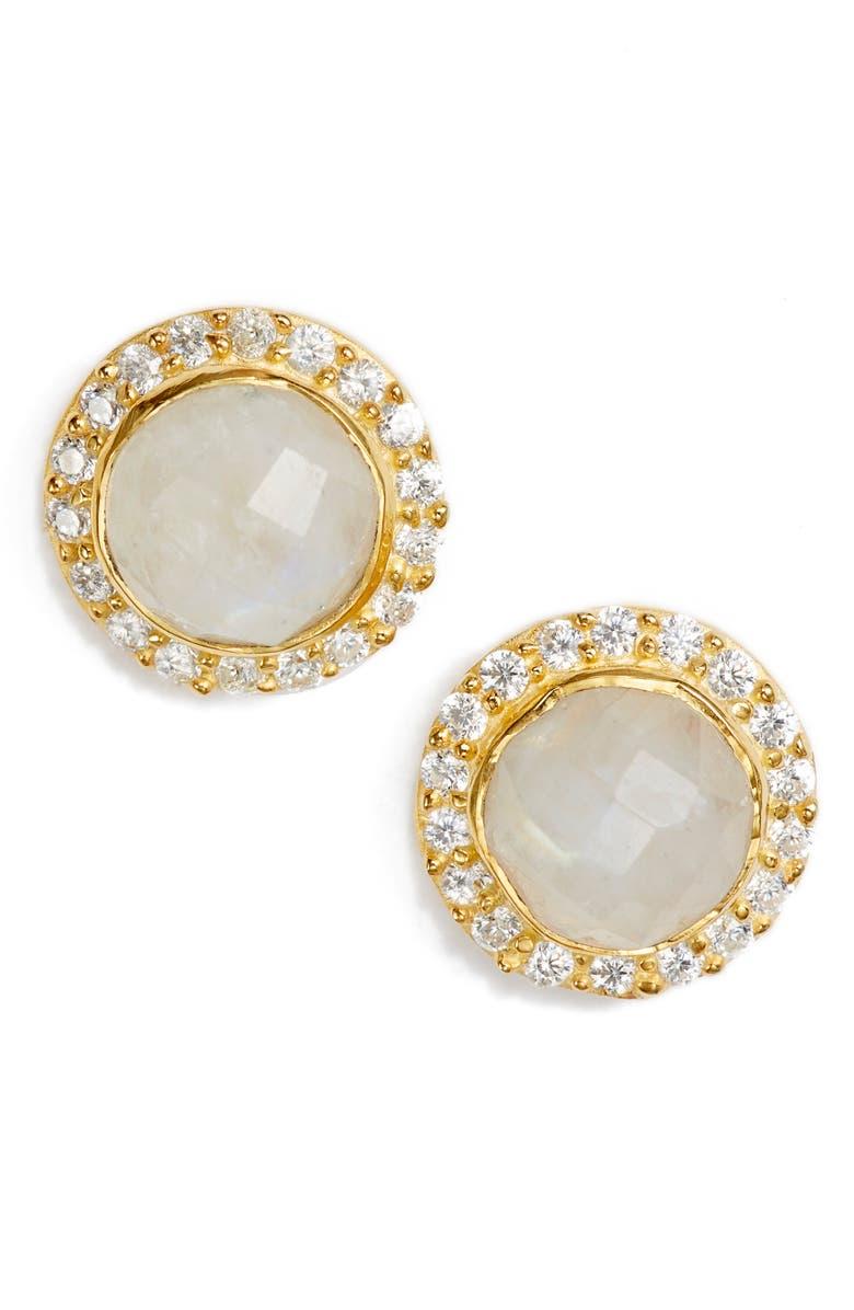 COLLECTIONS BY JOYA Celebration Stone Stud Earrings, Main, color, MOONSTONE