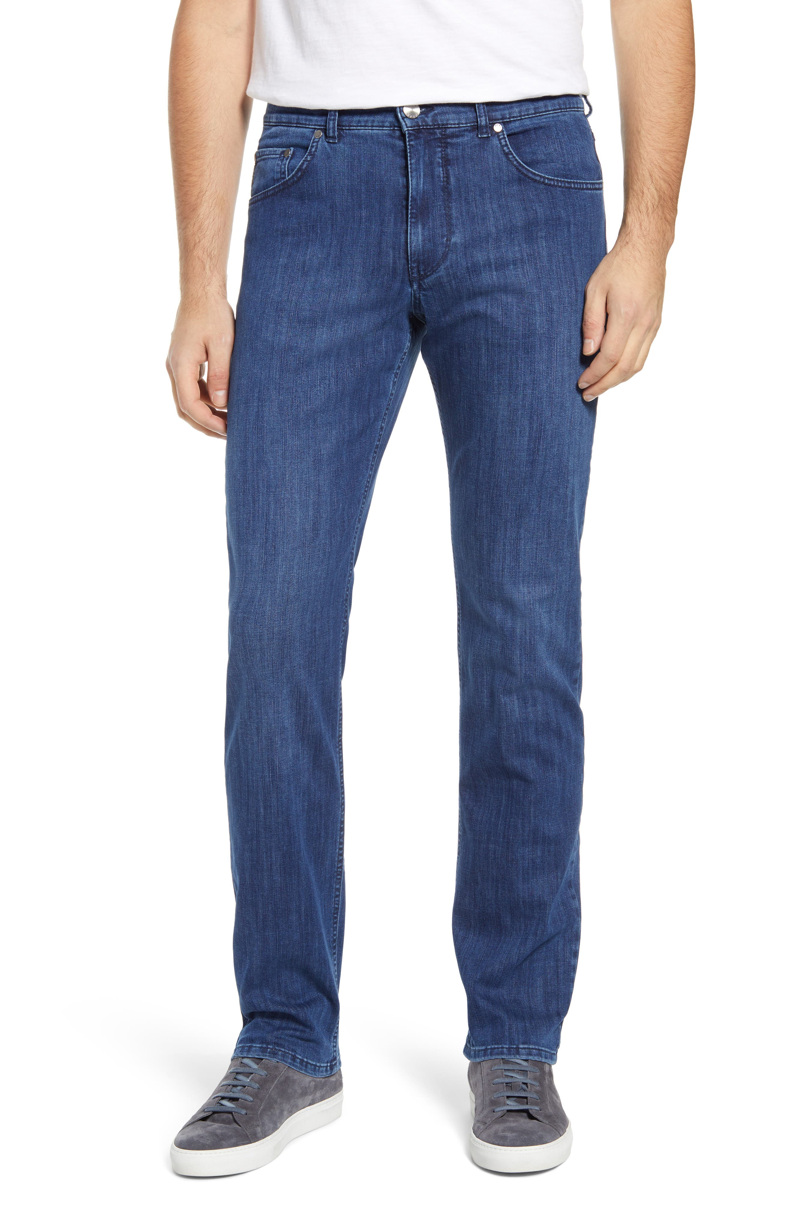 Look sharp and feel good inside and out in these straight-leg jeans elevated by soft, luxurious stretch-denim blended with sustainable fibers. Style Name: Brax Cooper Pure Straight Leg Jeans (Regular Blue Used). Style Number: 6028136. Available in stores.