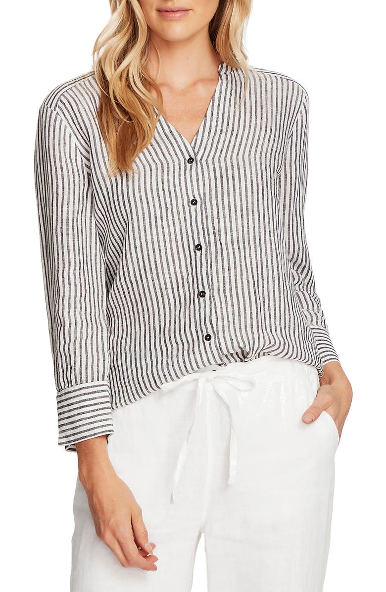 VINCE CAMUTO Stripe Linen Blouse, Main, color, 001