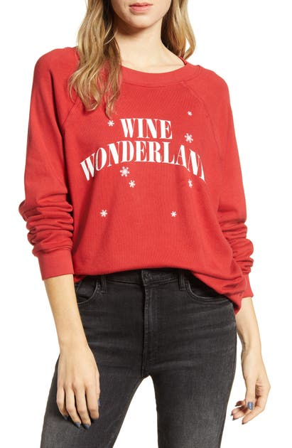 Wildfox T-shirts WINE WONDERLAND COTTON SWEATSHIRT