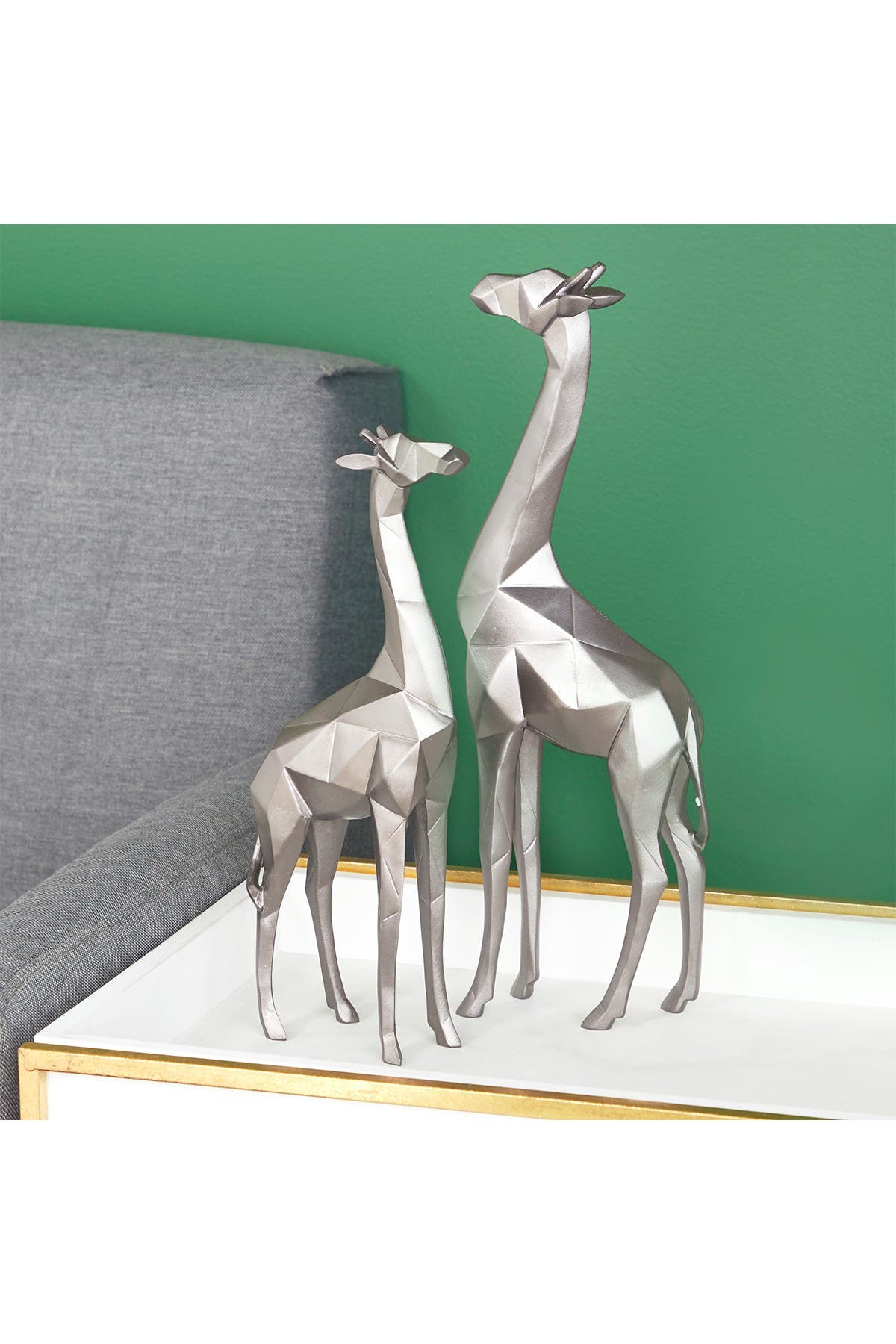 Image of CosmoLiving by Cosmopolitan Large Modern Style Metallic Silver Giraffe Statue - Set of 2