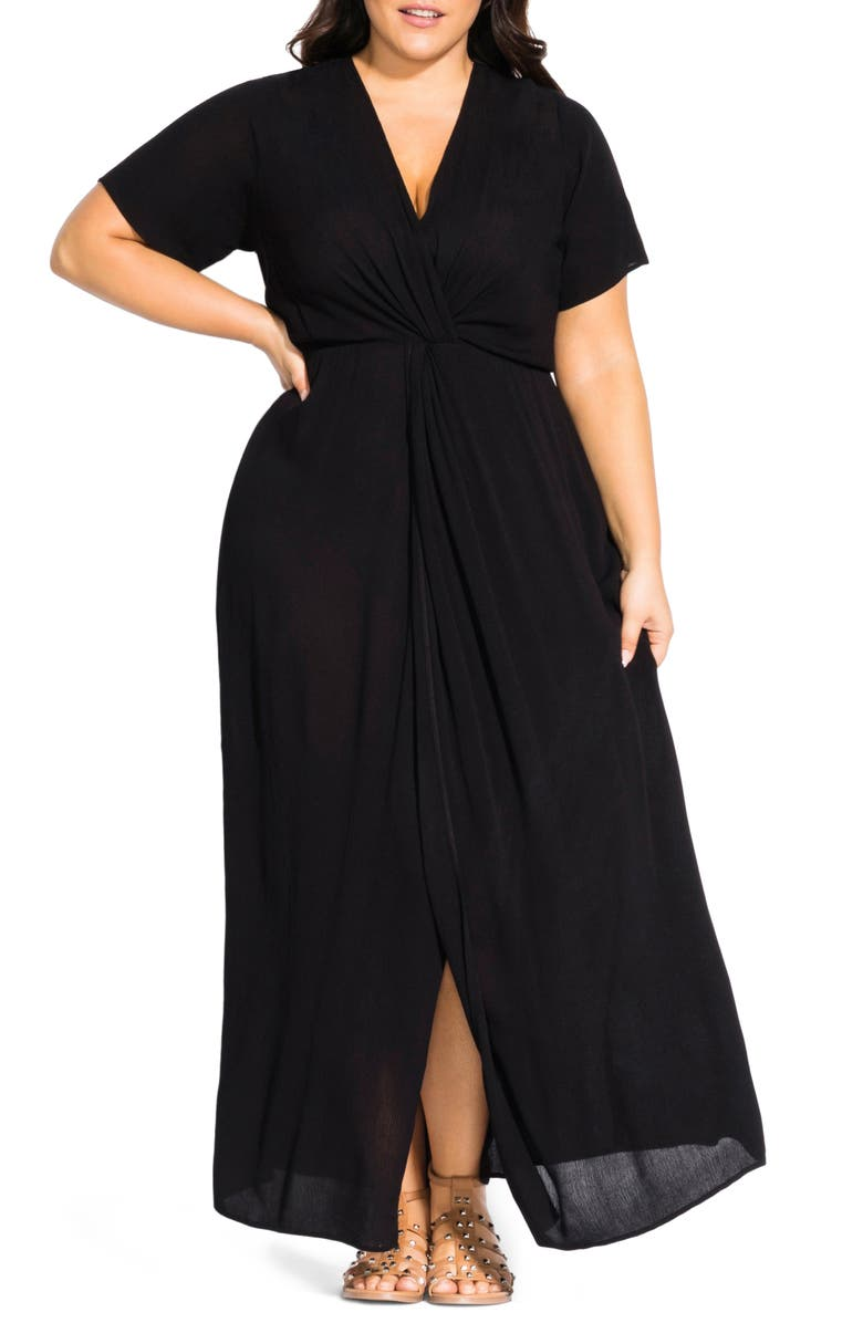 Knot Front Maxi Dress by City Chic