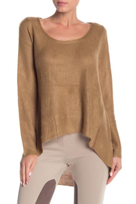 Image of Vertigo Hi-Lo Scoop Neck Fuzzy Pullover Sweater