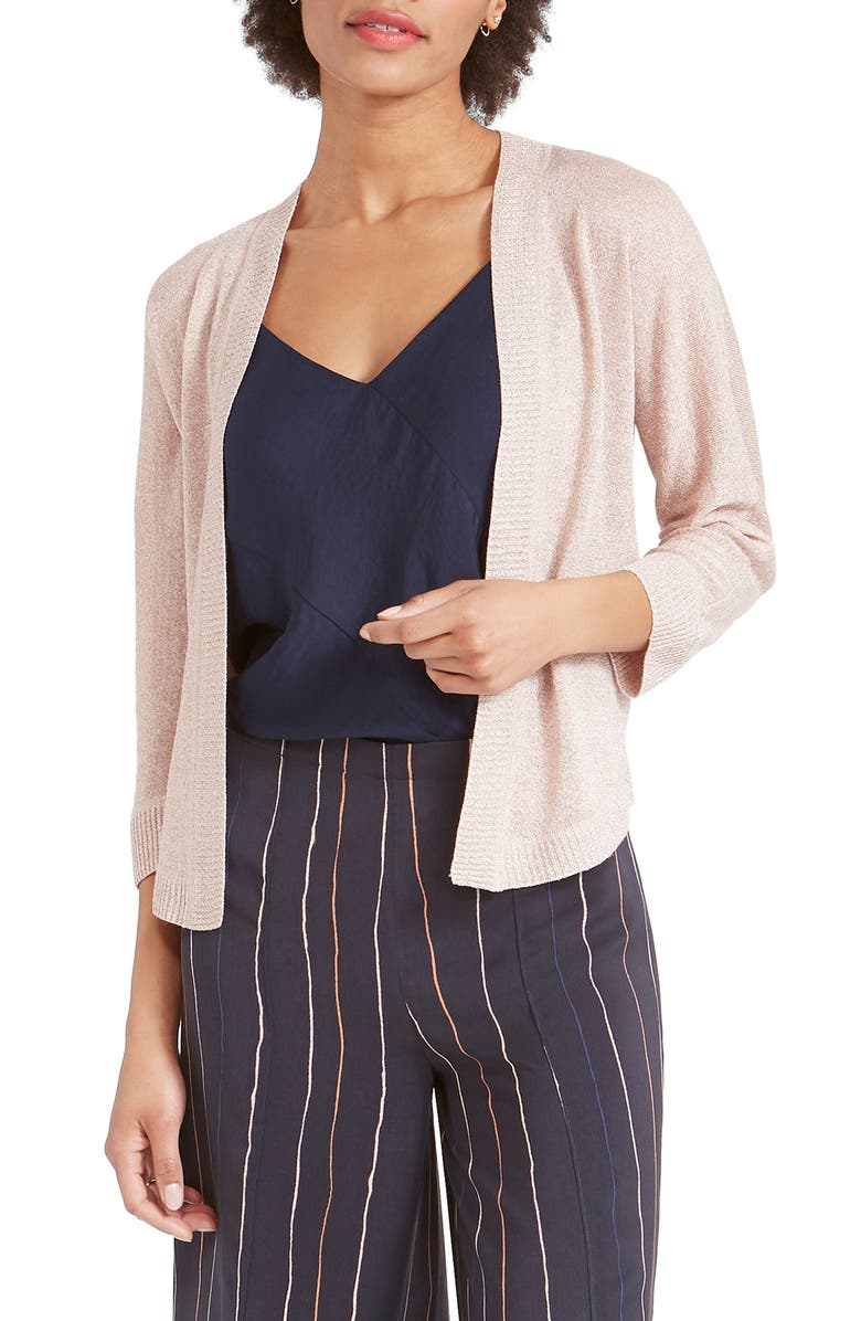 NIC+ZOE Gleaming Metallic Open Front Cardigan, Main, color, BLEACHED COPPER