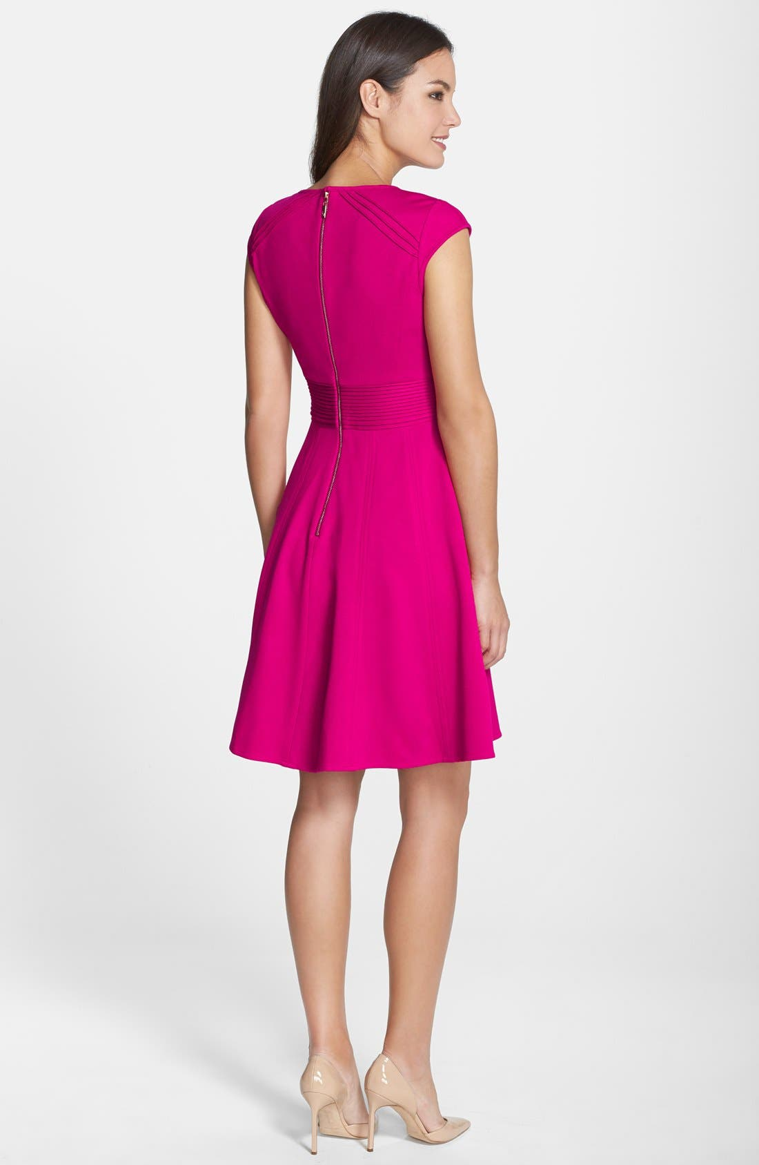 ,                             Pintucked Waist Seamed Ponte Knit Fit & Flare Dress,                             Alternate thumbnail 12, color,                             660