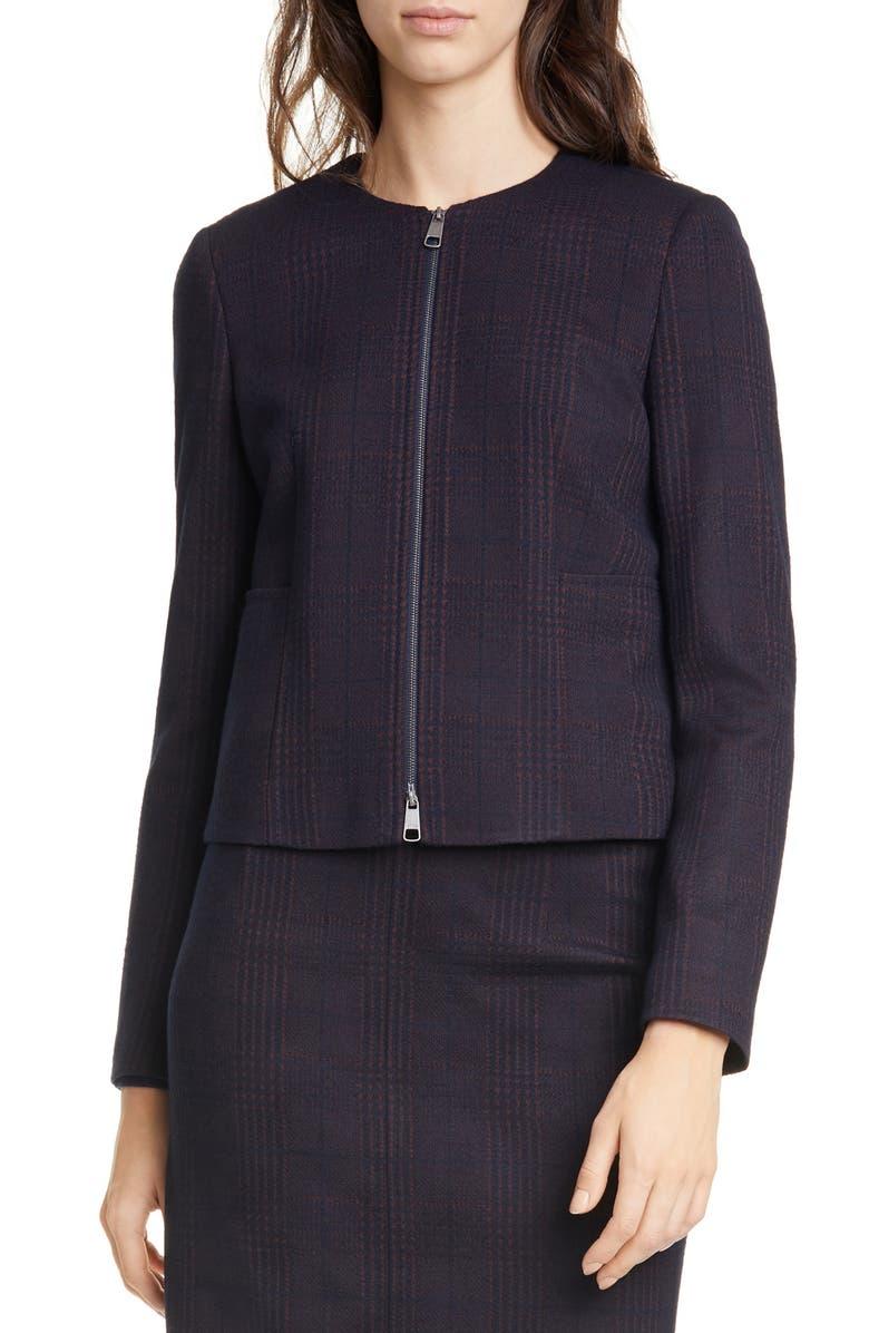 BOSS Javidar Glen Check Zip Jacket, Main, color, MIDNIGHT FANTASY