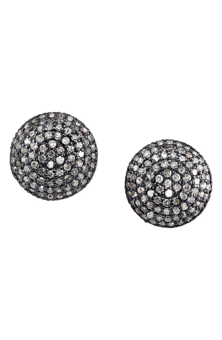 SHERYL LOWE Pavé Diamond Dome Stud Earrings, Main, color, STERLING SILVER