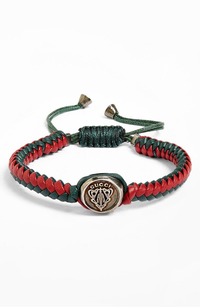 0100b0536 'Crest' Woven Leather Bracelet, Main, color, ...