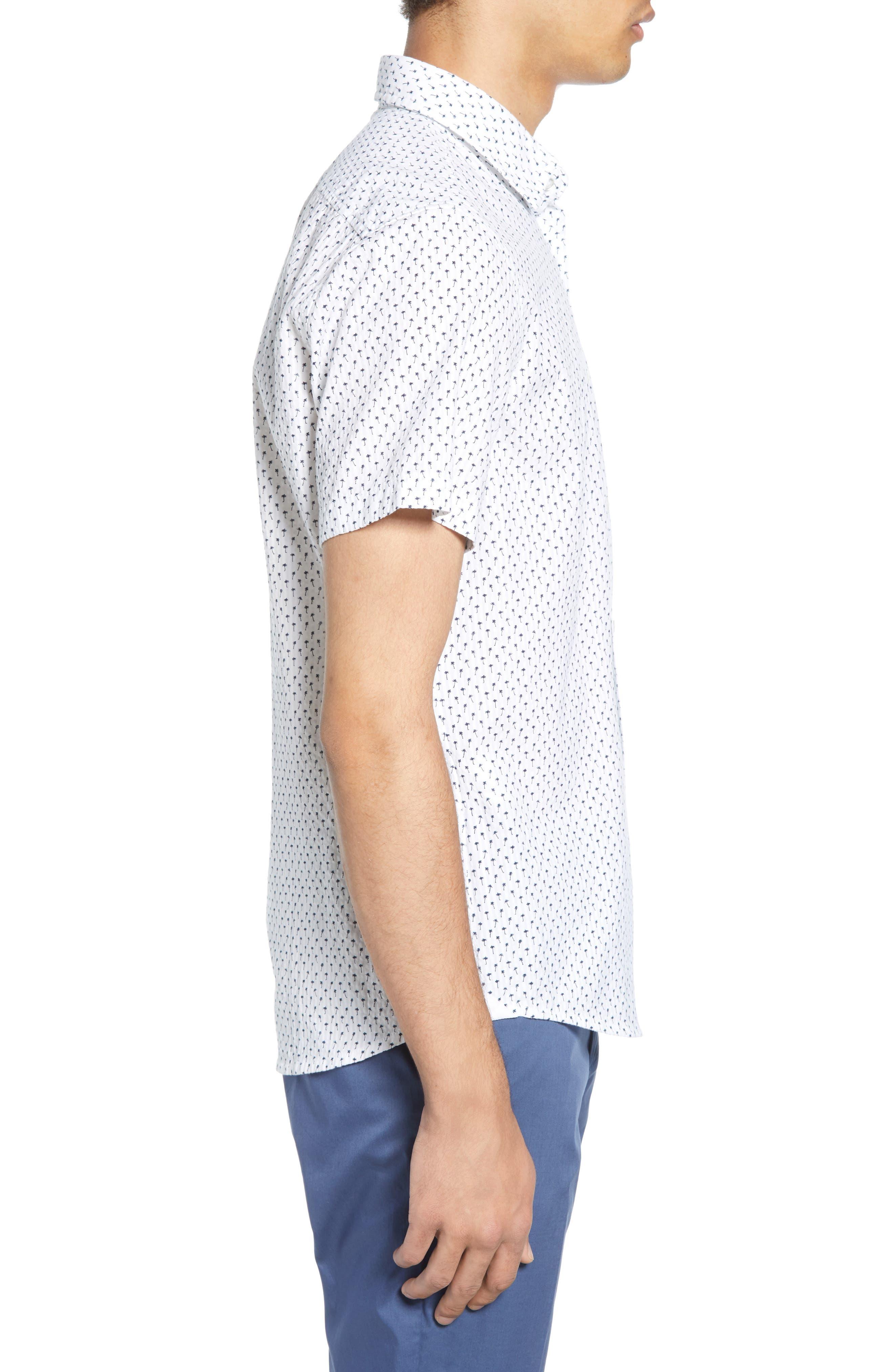 ,                             Rash Regular Fit Palm Print Sport Shirt,                             Alternate thumbnail 4, color,                             WHITE