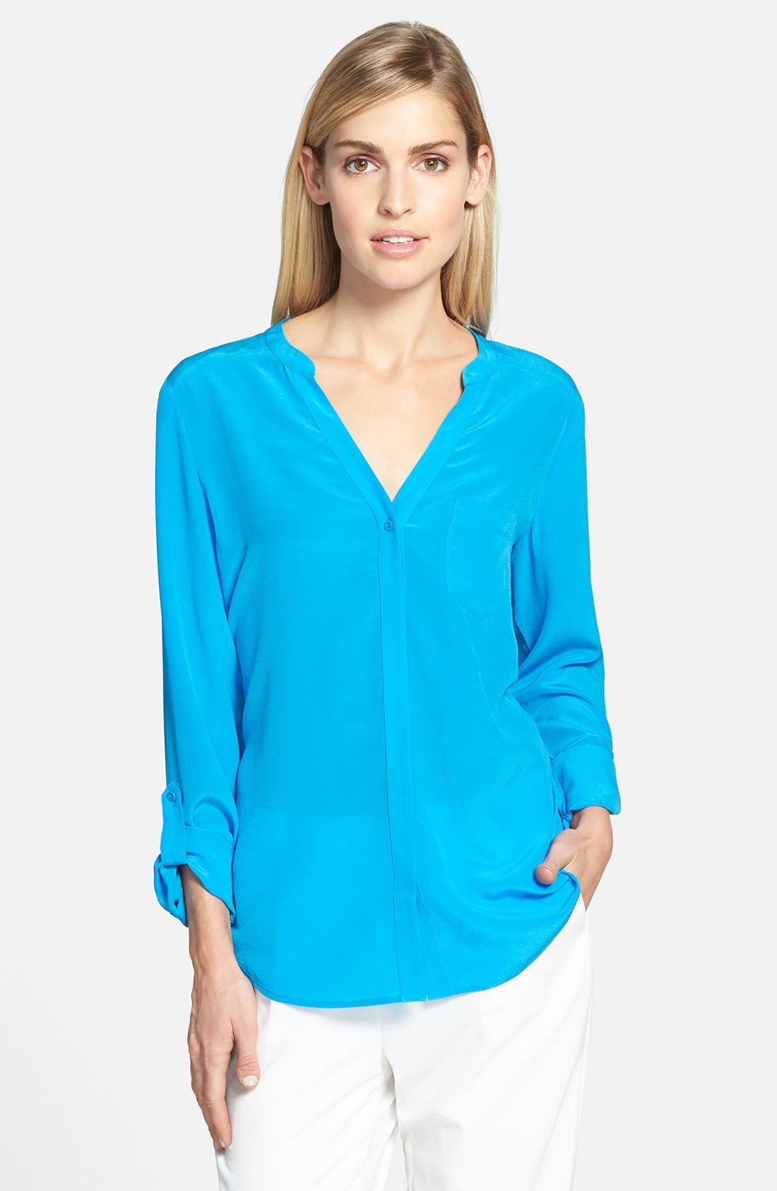 ,                             Collarless Silk Blouse,                             Main thumbnail 48, color,                             420