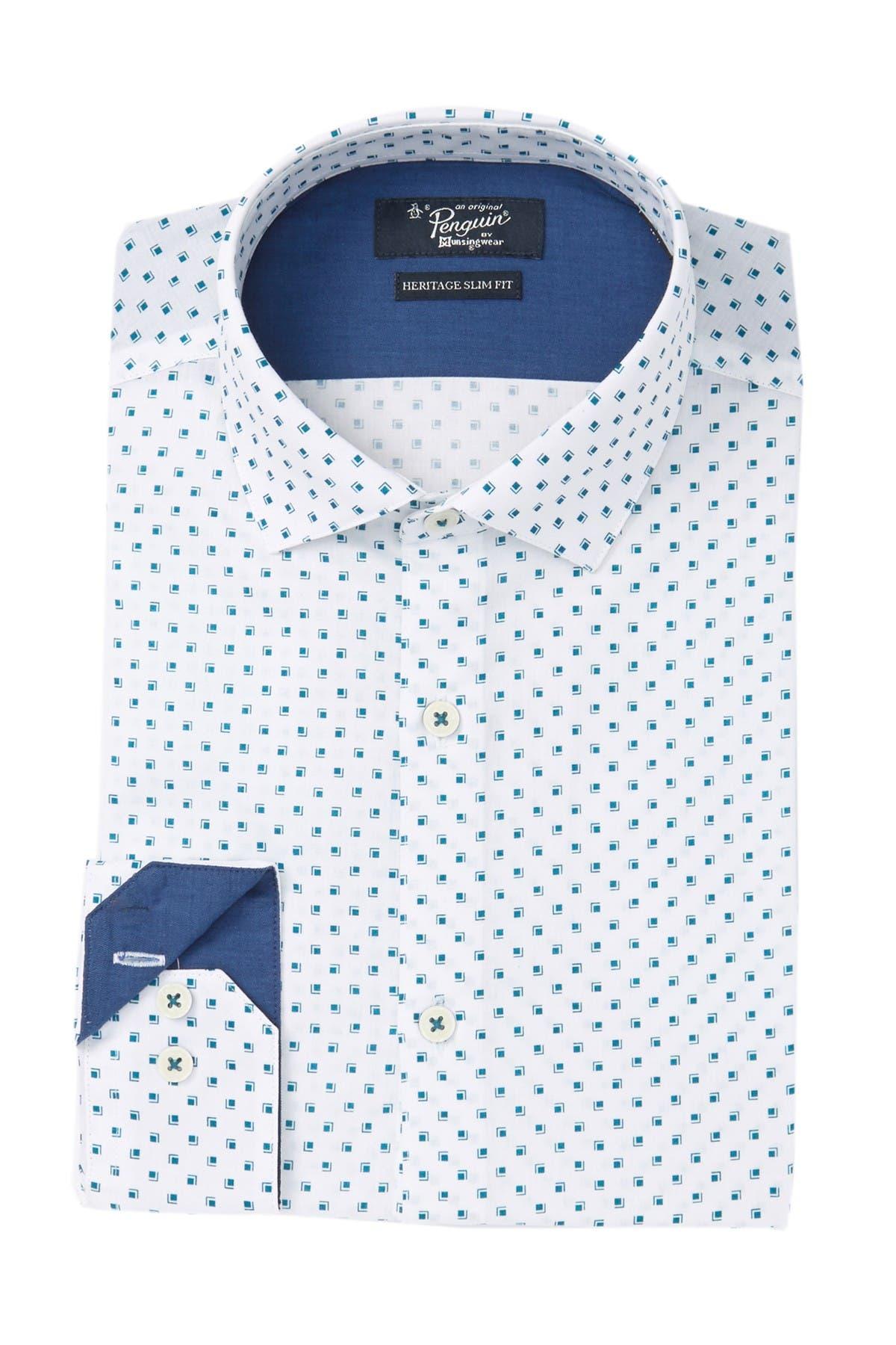 Image of Original Penguin Heritage Slim Fit Printed Dress Shirt