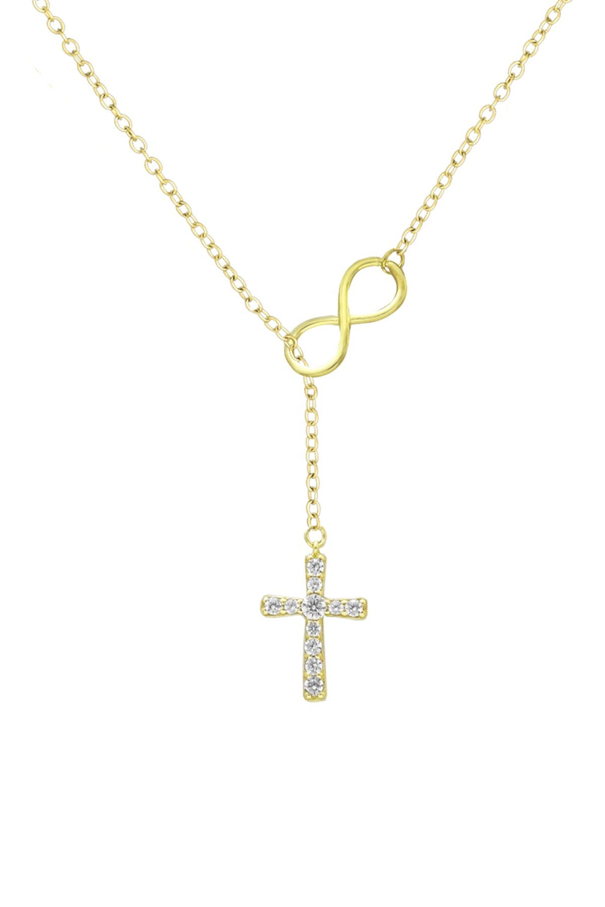 Image of Savvy Cie 18K Yellow Gold Vermeil Inifity & Pave CZ Cross Pendant Necklace