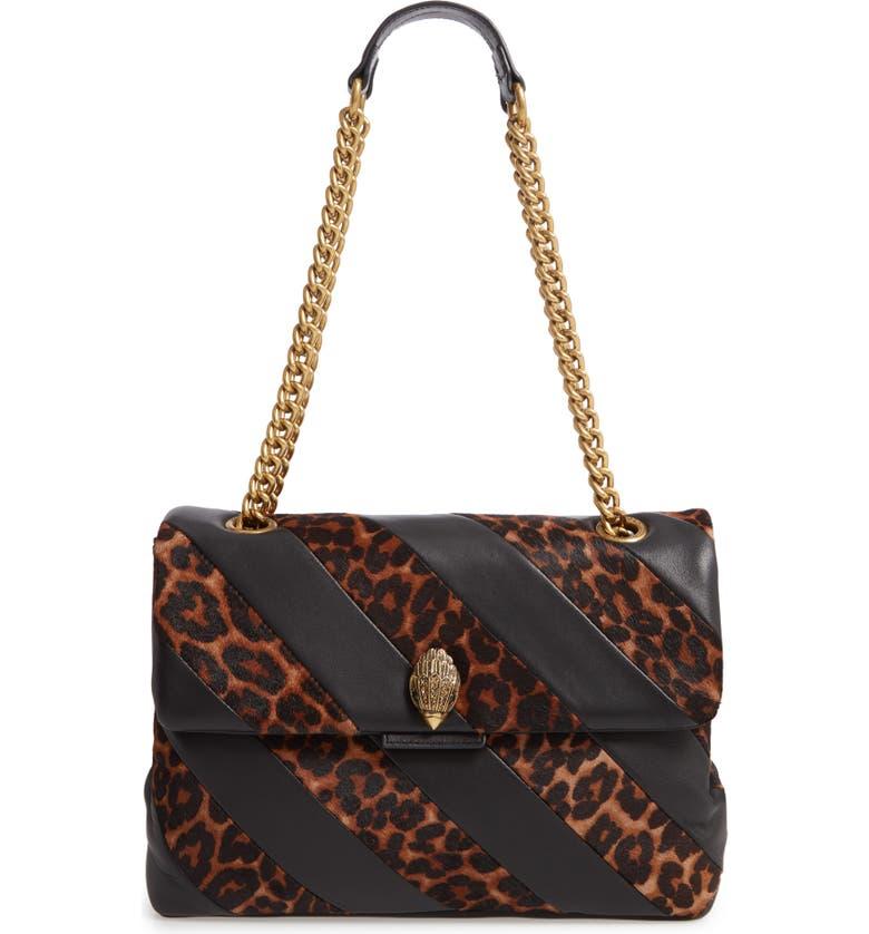 KURT GEIGER LONDON Soho Leather & Genuine Calf Hair Shoulder Bag, Main, color, 248