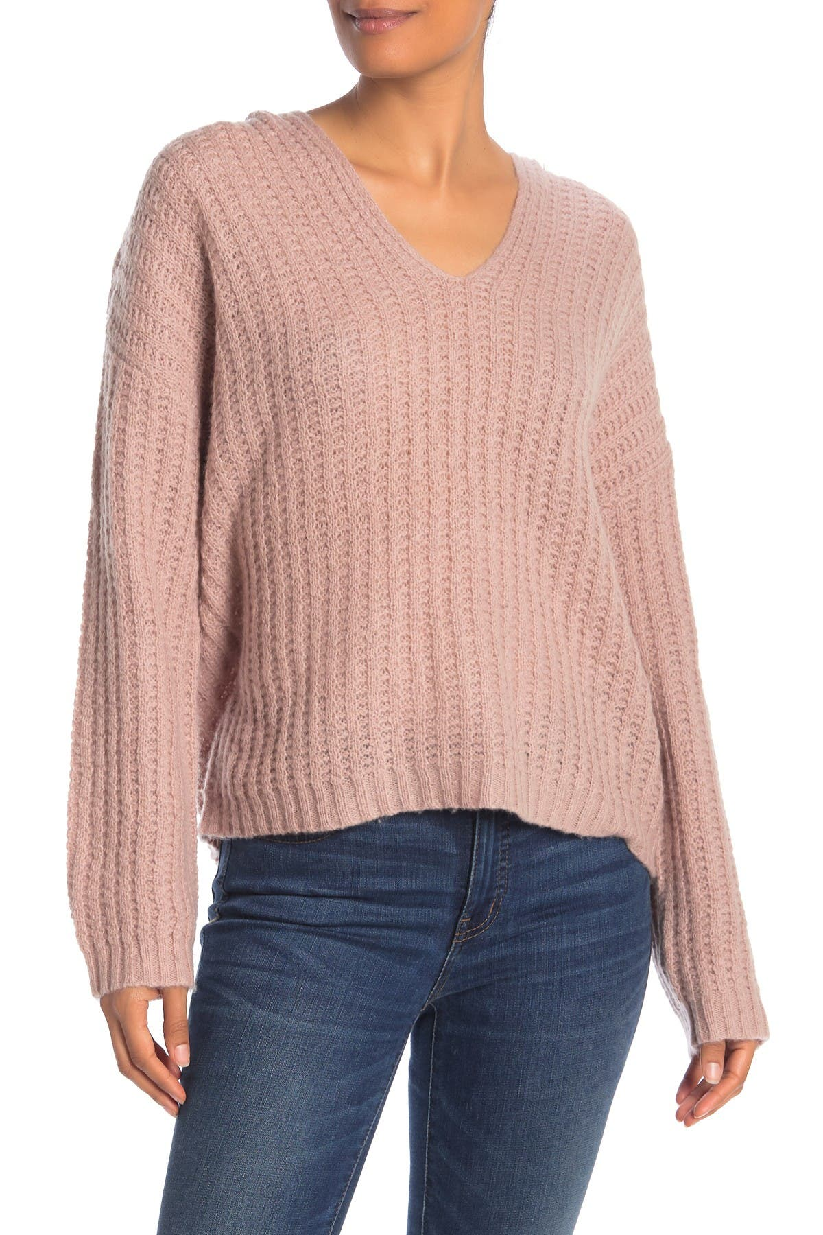 Image of 360 Cashmere Naomi Ribbed Cashmere V-Neck Sweater