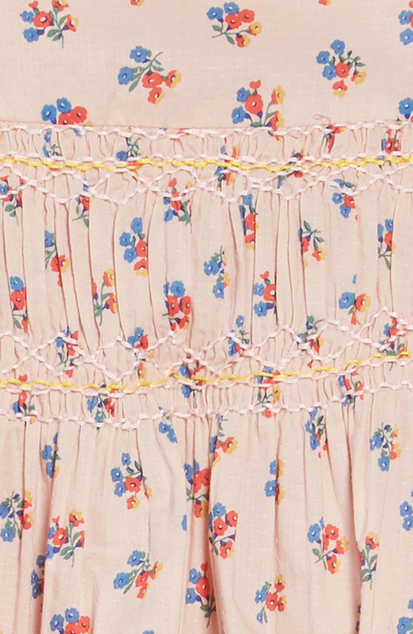 ,                             Nostalgic Smocked Dress,                             Alternate thumbnail 3, color,                             PNK PINK VINTAGE POSY