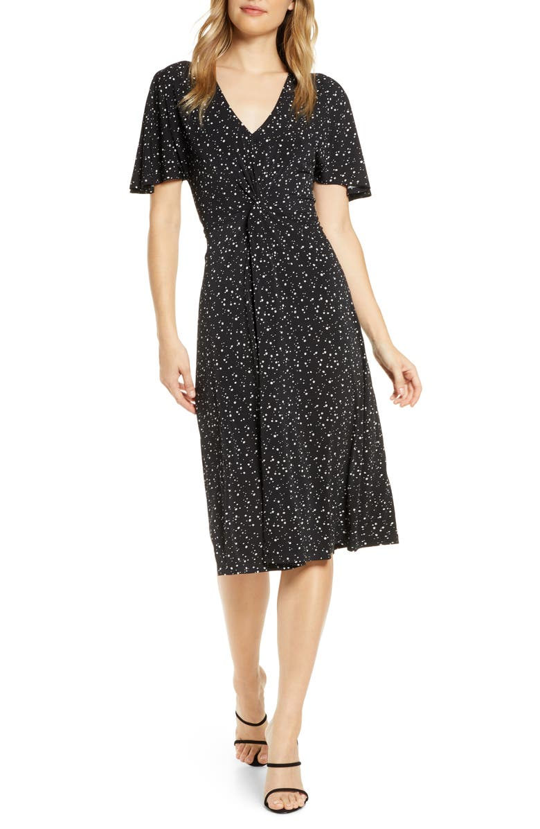 LEOTA Betty Flutter Sleeve Jersey Dress, Main, color, STARRY NIGHT