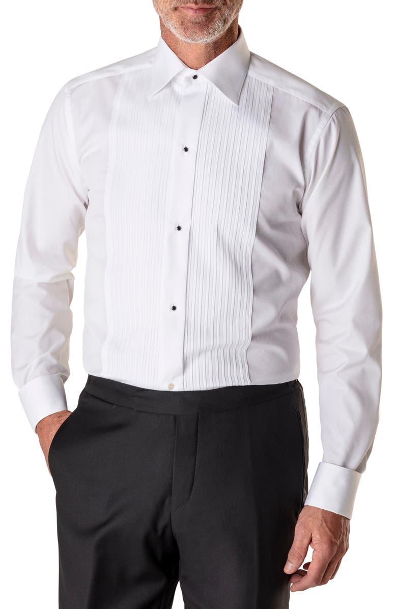 ETON Slim Fit Pleated Bib Tuxedo Shirt, Main, color, WHITE