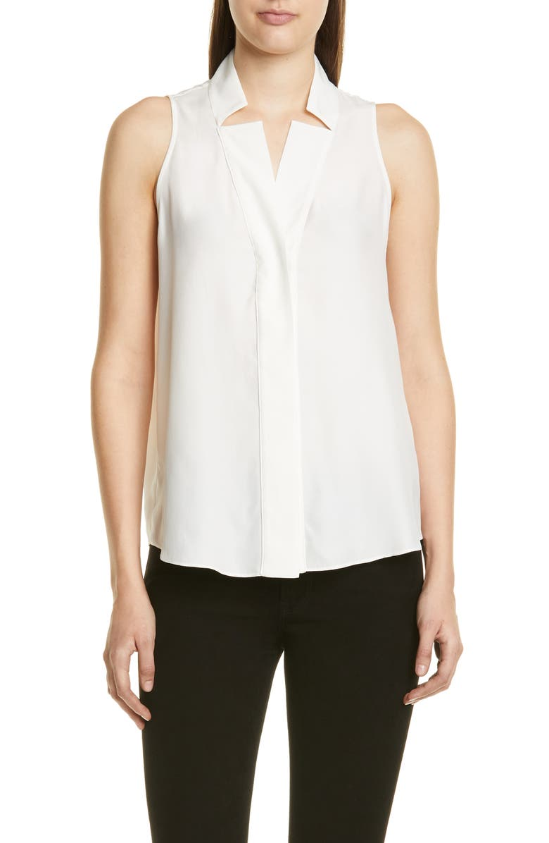 FRAME Notch Collar Silk Tank, Main, color, OFF WHITE