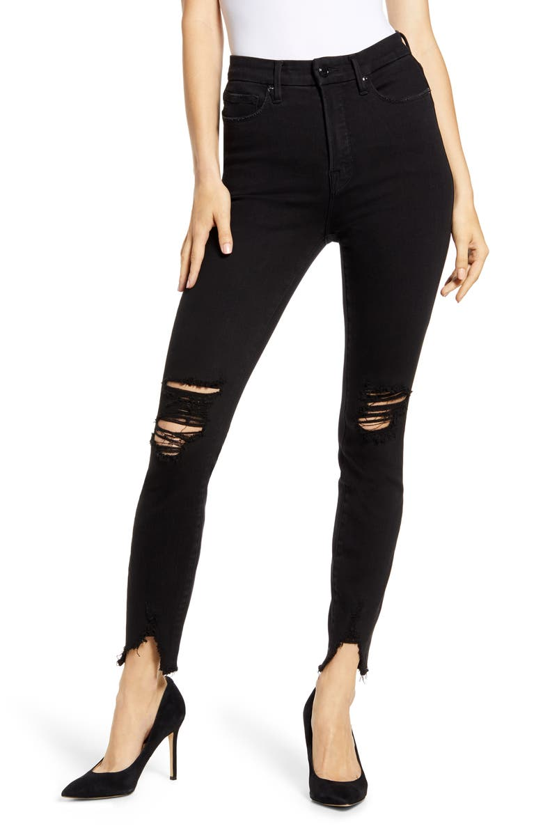 GOOD AMERICAN Good Waist Ripped High Waist Skinny Jeans, Main, color, 001